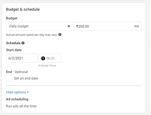 Facebook Ads Budget and Schedule Set up