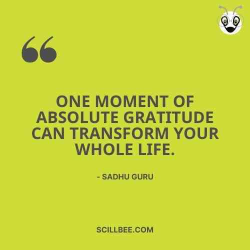 """sadhguru quotes about life, scillbee, """"One moment of absolute gratitude can transform your whole life."""""""