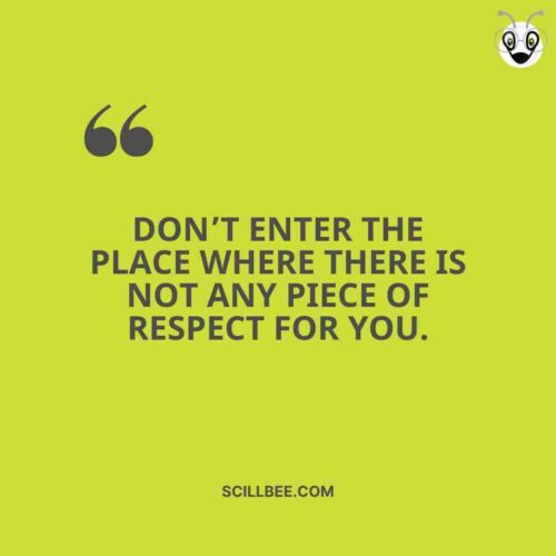 """""""Don't enter the place where there is not any piece of respect for You."""" scillbee attitude quote"""