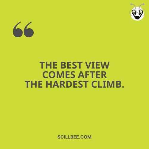 """heart touching status on success scillbee, """"Best view comes after the hardest climb."""""""