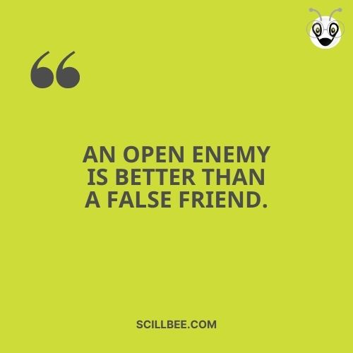 """fake friendship quotes images, scillbee, """"An open enemy is better than a false friend."""""""