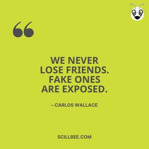 """fake friendship quotes, scillbee, """"We never lose friends. Fake ones are exposed."""" – Carlos Wallace"""